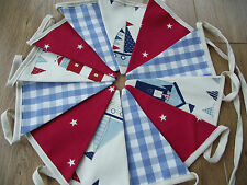 HANDMADE BOYS NAUTICAL LAURA ASHLEY LIGHTHOUSE BEACH HUT Red Star Sea BUNTING