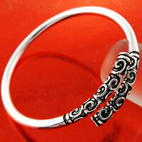 Bracelet Bangle Real 925 Sterling Silver S/F Solid Engraved Celtic Oxidised Cuff