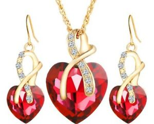 Gold Plated Small Red Crystal & Rhinestone Necklace and Earring Gift Set