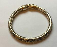Vintage Chinese Filigree Dragon Chasing Pearl Silver Gilt Enamel Inlay Bracelet