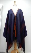 Hermes Poncho Navy Wrap Rocabar Leather Pompons Tassels New