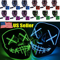 LED Light Mask Up Funny Mask The Purge Election Year Great for Cosplay Halloween