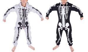 Unisex Girls Boys Halloween One Piece Costume Skull Skeleton Hooded Jumpsuit