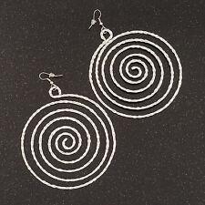 Oversize Martellato Orecchini a cerchio a spirale argentatura - 10cm Lunghezza/7.5cm D
