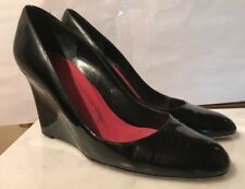 Kate Spade HALLE Black Patent leather WEDGE Heels shoes 8