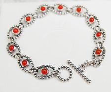 "Gen. Pandora Silver Carnelian Cabochon Bracelet 17.5cm (7.0"") 590401CAR retired"