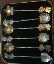 UNIQUE & RARE CASED SET OF SIX 800 SILVER LEAF DESIGN COFFEE SPOONS A 679