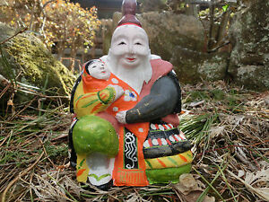 Japanese old clay doll an uncle wore armour hug baby  #a10