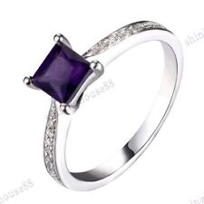 Solid 14K White Gold Amethyst Cushion 5x5mm Pave Diamonds Romantic Ring Jewelry
