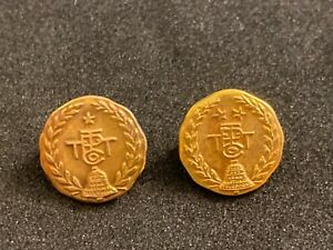 2 PACIFIC TELEPHONE & TELEGRAPH 14K YELLOW GOLD Pin Lot PAC BELL