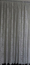 LACE CURTAIN 3 or 5m x 213cm ECRU or WHITE Floral Design Angelina scalloped hem