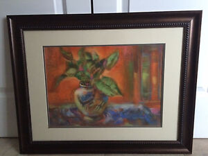 "ORIGINAL STILL LIFE IN PASTELS BY LOCAL ARTIST- FRAMED 22"" x 28"""
