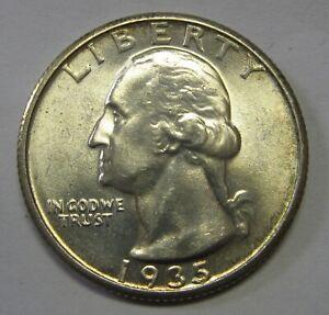 1935-S Silver Washington Quarter Grading GEM BU Priced Right Shipped FREE   a2