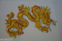 GOLD RED CHINESE DRAGON 20cm 8inch EMBROIDERED CLOTH SEW IRON ON PATCH BADGE