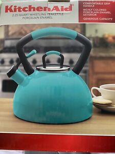 NewKITCHEN AID Porcelain Tea Kettle 2.2 QT Whistling Stainless Steel Teal Teapot