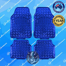 BLUE CHECKER PLATE CAR FLOOR MATS,METALLIC SHINY, UNIVERSAL HEAVY-DUTY SET OF 4