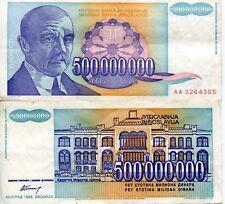 FRJ Jovan Cvijić Yugoslavia 1993 500000000 Dinar Dinara Yugoslav Wars Banknote