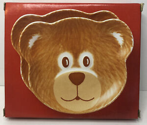 "NIKKO ""HAPPY HOLIDAYS"" SET OF 2 CHRISTMAS TEDDY BEAR PLATE BRAND NEW IN BOX!"