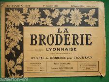 LA BRODERIE LYONNAISE 1079 JAN 1952 BRODERIES POUR TROUSSEAUX