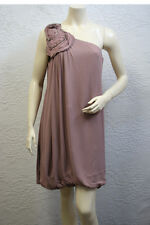 $248 BCBG LT. TAUPE (CQD6F395) ROSE ONE SHOULDER  APPLIQUE RAYON DRESS NWT 6