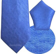 NEW 100% SILK MEN'S NECK TIE & HANKIE SET ROYAL BLUE formal 01R
