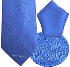 NEW 100% SILK MEN'S NECK TIE & HANKIE SET ROYAL BLUE formal 01R