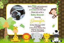 Personalised Baby Shower Gender Reveal Jungle Animals Birthday Invitations