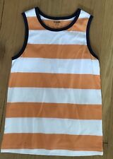 Gymboree Boys Orange White Striped Sleeveless Shirt Boys M 7 8 EUC