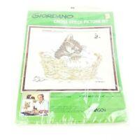 Vintage 1980 Paragon Needlecraft Giordano Cross Stitch Kit~Kitty Napping~Cat