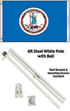3x5 State of Virginia Flag White Pole Kit Gold Ball Top 3'x5'