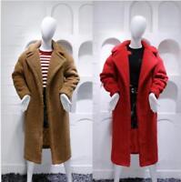 2017 Luxury Women Teddy Bear Feel Oversized  Faux fur  Long Coat UK 4-12