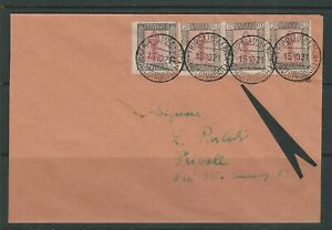 LIBYA 1921 Cover with strip/3 Scott 24a DIANA of EPHESUS center inverted *RARE*