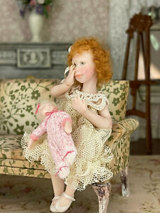 Vintage Miniature Dollhouse Artisan Doll Carol McBride Little Girl Red Head OOAK