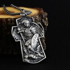 Saint Michael Archangel Cross Men's 925 Sterling Silver Heavy Charm Necklace