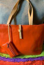 Handbag Orange & Beige Trim Multi-Color Zip Shoulder Bag Tote Hobo Coin Purse