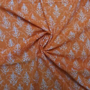Hand Block Print Mustered Yellow /Orange 100% Cotton Women Dress Fabric by meter