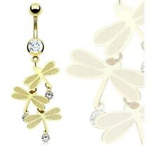 GOLD PLATED TRIPLE DRAGONFLY BELLY NAVEL RING BUTTON PIERCING JEWELRY B272