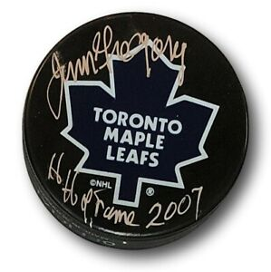 Jim Gregory Signed Hockey Puck Autograph HOF Maple Leafs PSA/DNA AG51020 b33