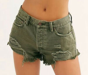 We The Free By Free People Womens OB1103553 Mini Shorts Olive Green 26W