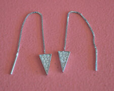 925 Sterling Silver CZ Arrow Triangle Long Thread Pull Through Dangle Earrings