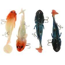 "2Pcs Soft Fishing Lures Silicone Swimbaits Night Glow Luminous Bass Carp 4.53"""