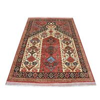"5'x6'9"" Red Prayer Design Afghan Ersari Hand Knotted Pure Wool Rug G53477"