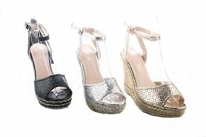 WOMENS LADIES METALIC HESSIAN ANKLE STRAP HIGH WEDGE SANDALS SHOES SIZE3-8