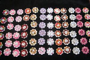 BULK 10 Mixed FLOWER WREATH Design Wooden Buttons 20mm 2 Hole NEW for CRAFTS