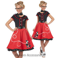 CK149 50s Sweetheart Child Red Girls 1950s Grease Book Week Halloween Costume