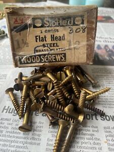 """Lot Of (47)Vintage # 12 X 1 1/2""""  Slotted Flat Head Brass Plated Wood Screw NOS"""