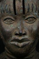 African OBA King Head, BENIN Bronze - Nigeria, AFRICAN TRIBAL  ART PRIMITIVE