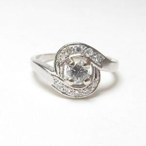 Estate 14K White Gold 0.33 Ct Round Brilliant Cut Diamond Ring 0.50 Cts Total