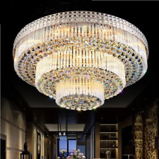 New Listing80Cm Luxury K9 Crystal Chandeliers Flush Mount Ceiling Fixtures Pendant Lighting