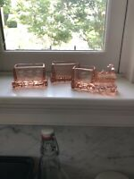 Pink Depression Glass Toy Train Locomotive Candy Container Rare +2 Cars